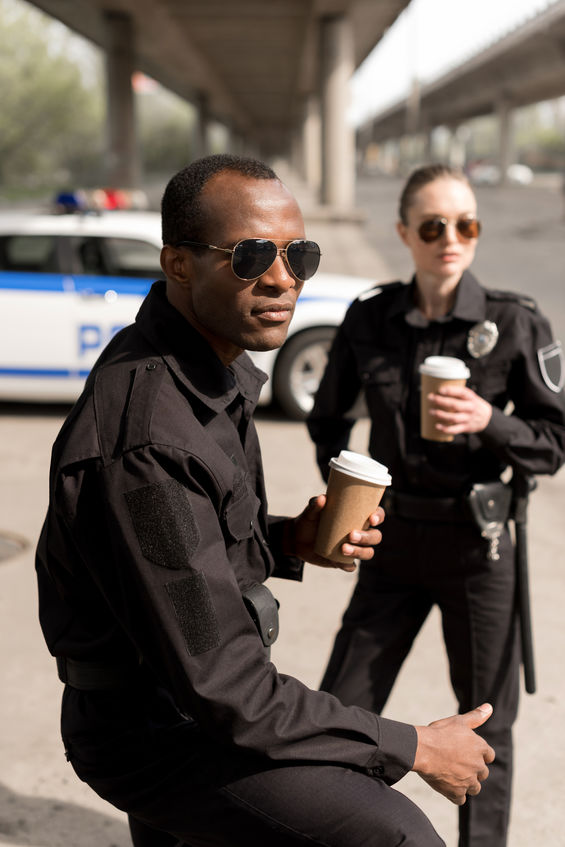 police officers having coffee break